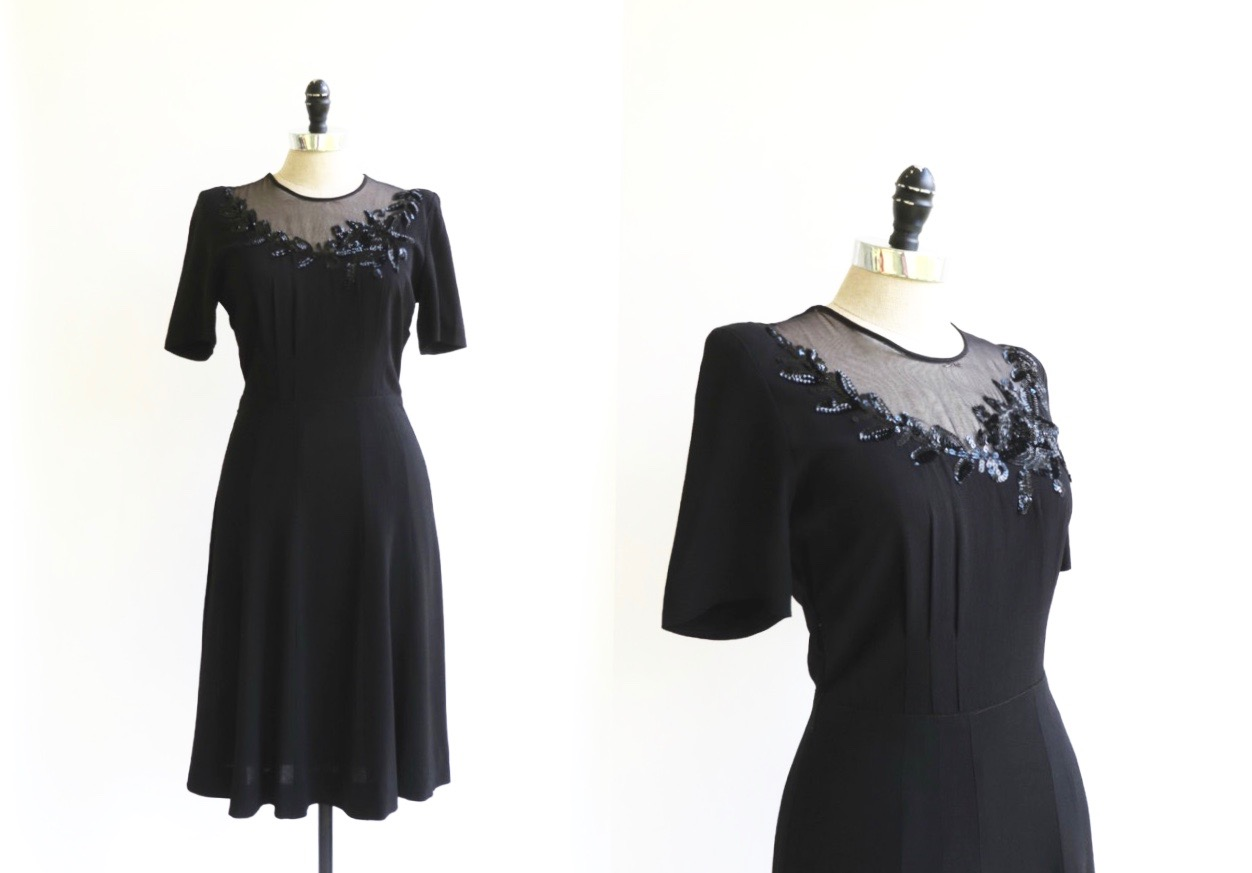 1930's-40's Beaded Illusion Crepe Dress