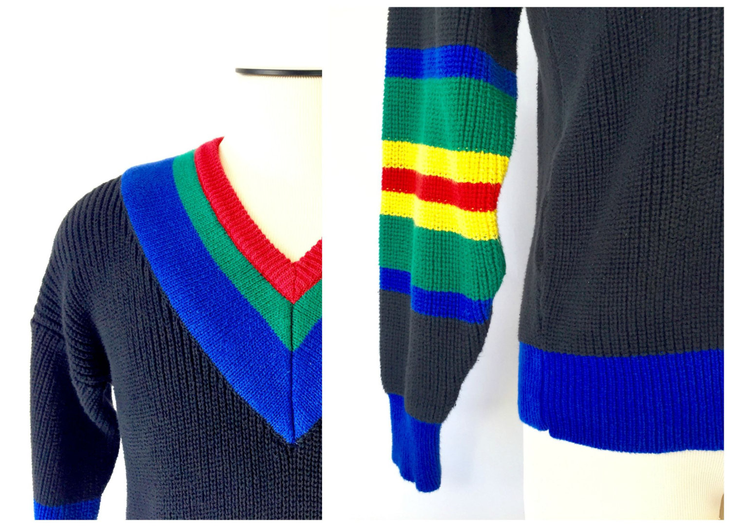 Bold color blocking on this 1980's V-neck sweater. Great vibrant blue!
