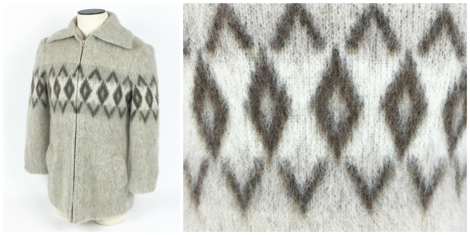 1970's Icelandic zippered sweater with a great shawl collar.