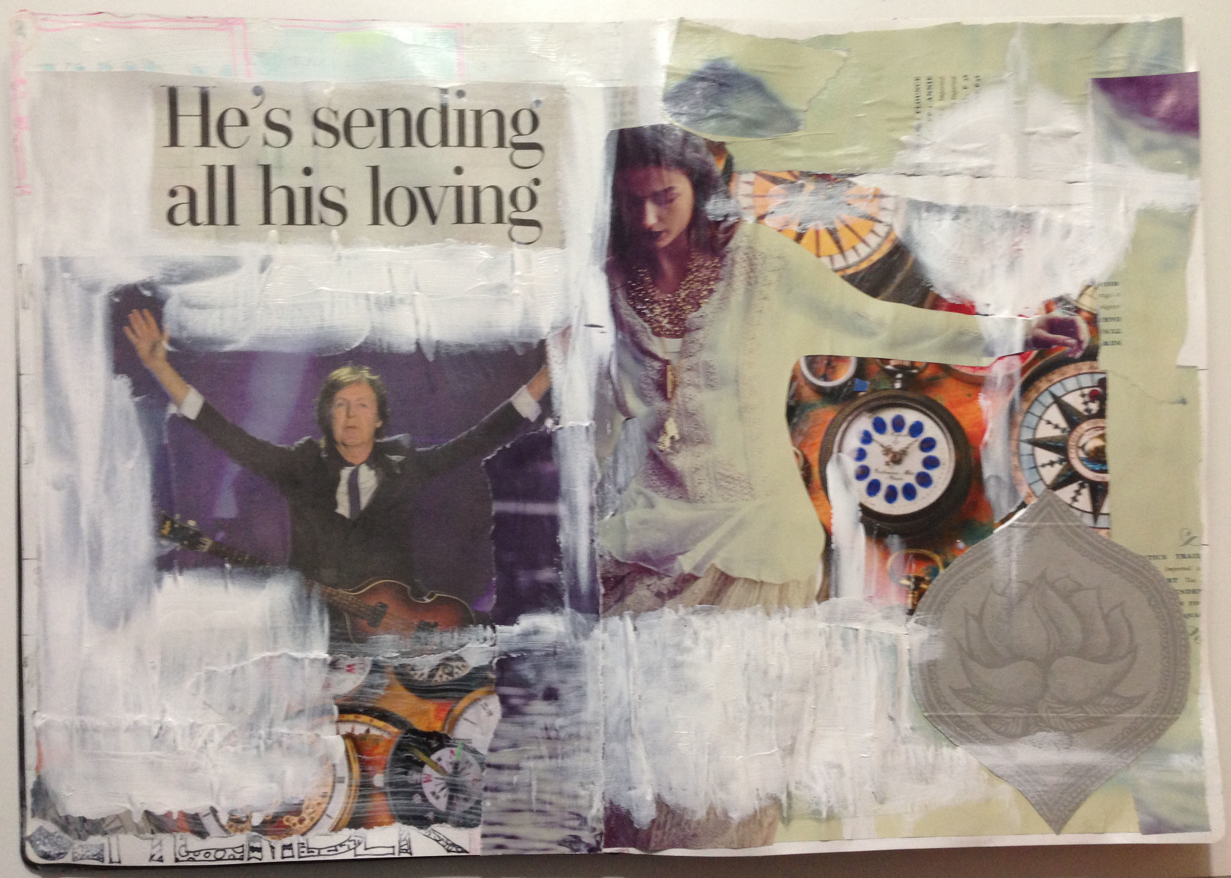I collect images from magazines constantly. But when I saw this headline about Paul McCartney performing for 3 hours at the age of 71, I had a reaction. The lotus bloom on the bottom right is actually the inside of a Yogi Tea box...who knew!