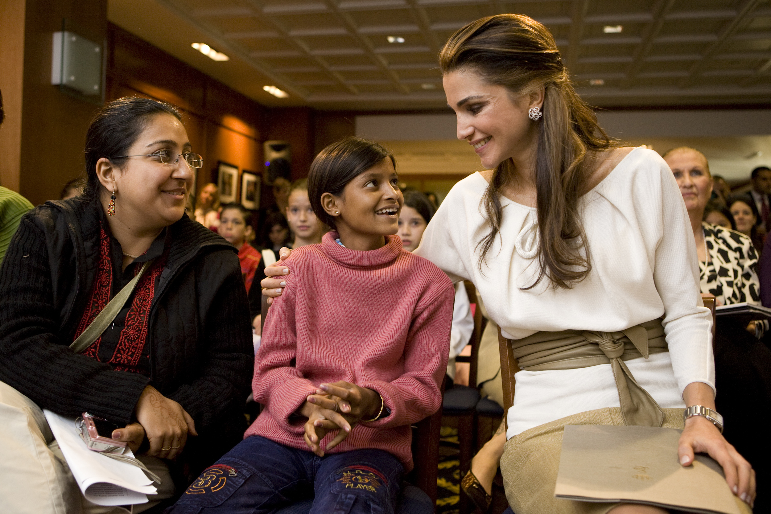 Queen Rania of Jordan with former laborer from India and now childhood education advocate in an event by the Global Campaign for Education calling for quality basic education for all children.
