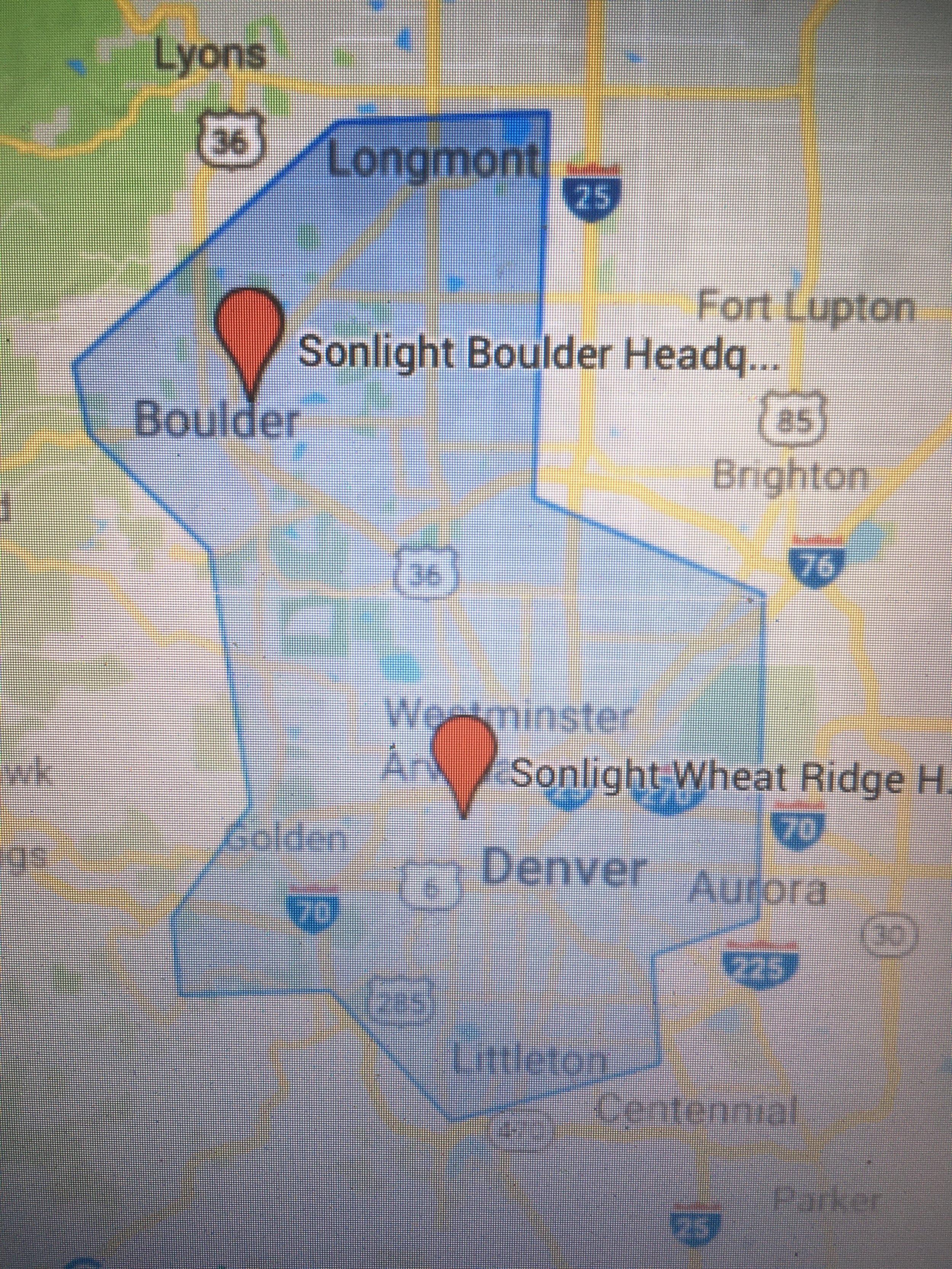 Sonlight Service Area - Schedule today!info@sonlightwindow.com       303-990-2878