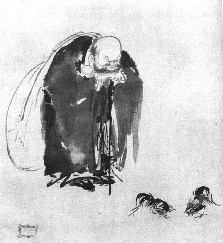 The Monk Hotei Watching a Cockfight - Miyamoto Musashi - Sumi-e Ink
