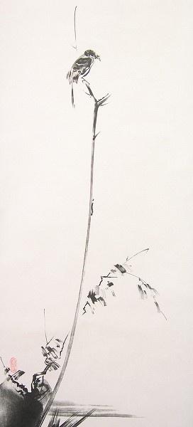 Shrike upon a reed - Sumi-e ink - Miyamoto Musashi