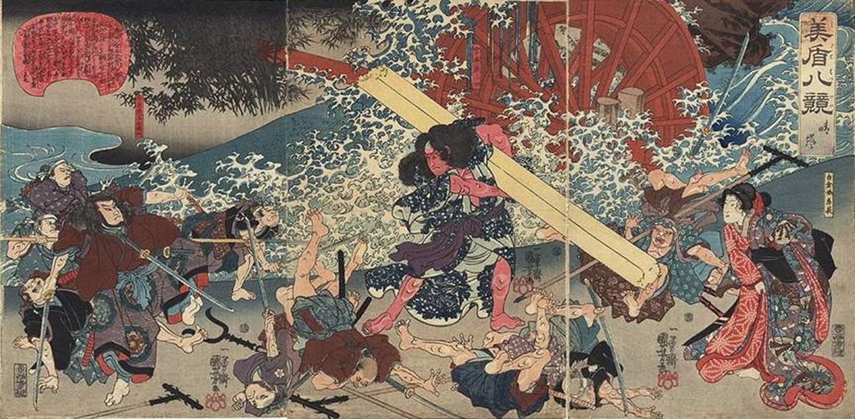 Glorious Sunset  by  Utagawa Kuniyoshi , ukiyo-e, 1846.   The ronin Miyamoto Musashi defeats a gang of bandits near a water mill.
