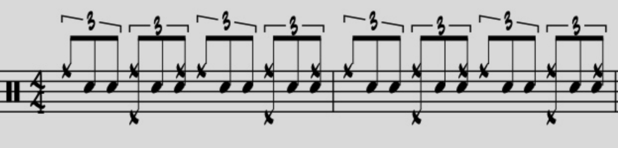 Beginning with a simple jazz pattern on the ride cymbal and hi hat, add the second two notes of the eighth note triplet to each beat.