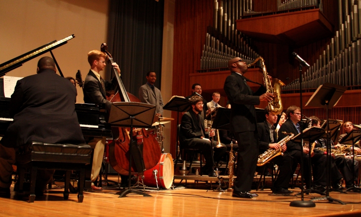 From left: pianist Cyrus Chestnut, bassist Tom Baldwin, saxophonist Tim Warfield, and the Centre Dimensions Big Band. Photo from  PSU News gallery