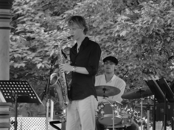 Saxophonist Greg Johnson and myself at the 2009 JazzPA Festival. Photo by ChiaChen Chang