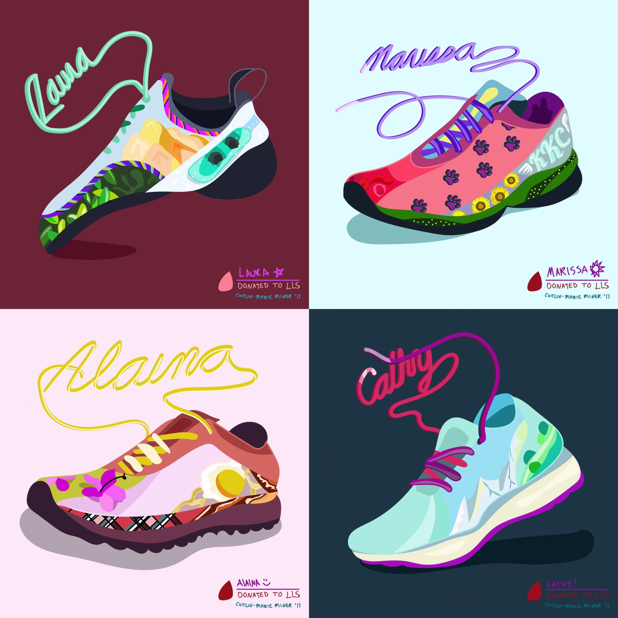 Some of the running (and climbing) shoes I have drawn for the fundraiser!