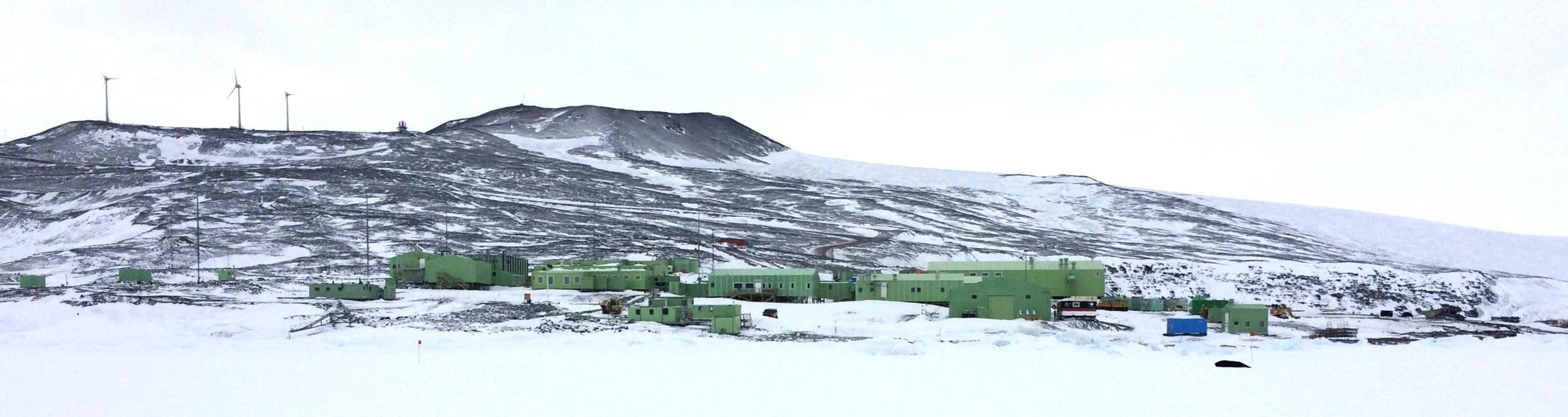 Not McMurdo Base, but the home of our Kiwi neighbors, Scott Base.