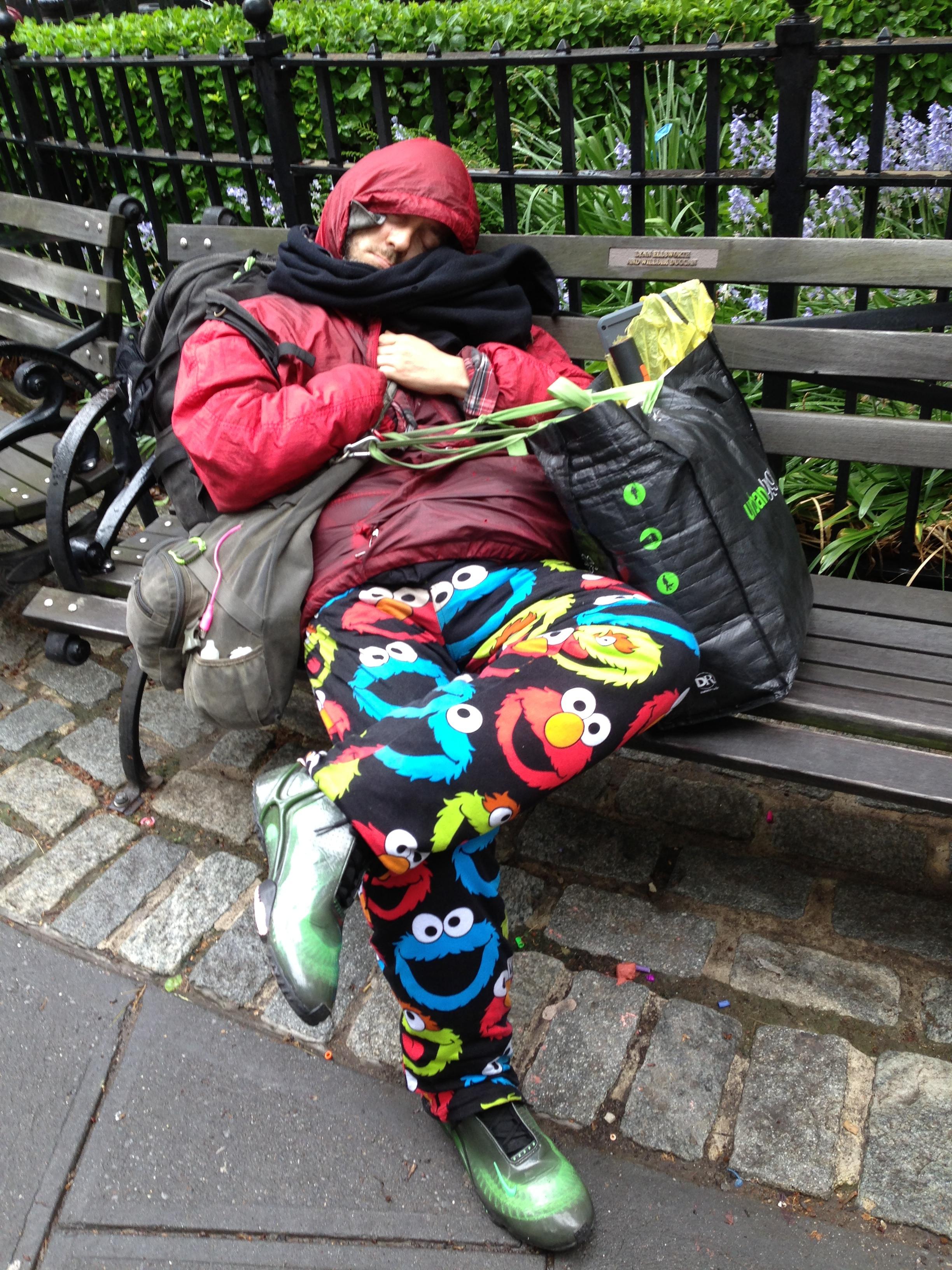 Funky sleeper, Duane Park, Tribeca
