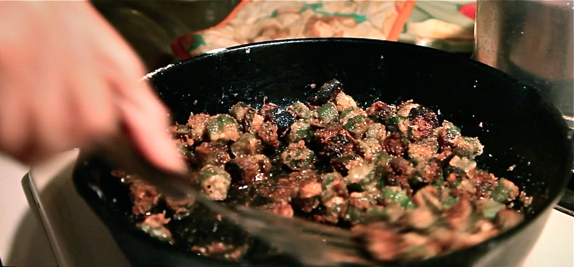 Ma Ma's fried okra in the cast iron skillet