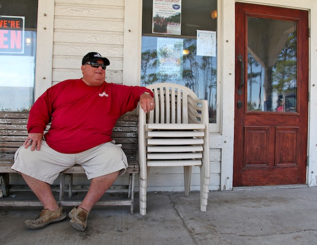 Owner Jimmy McNeill ready to hold court on the front porch.