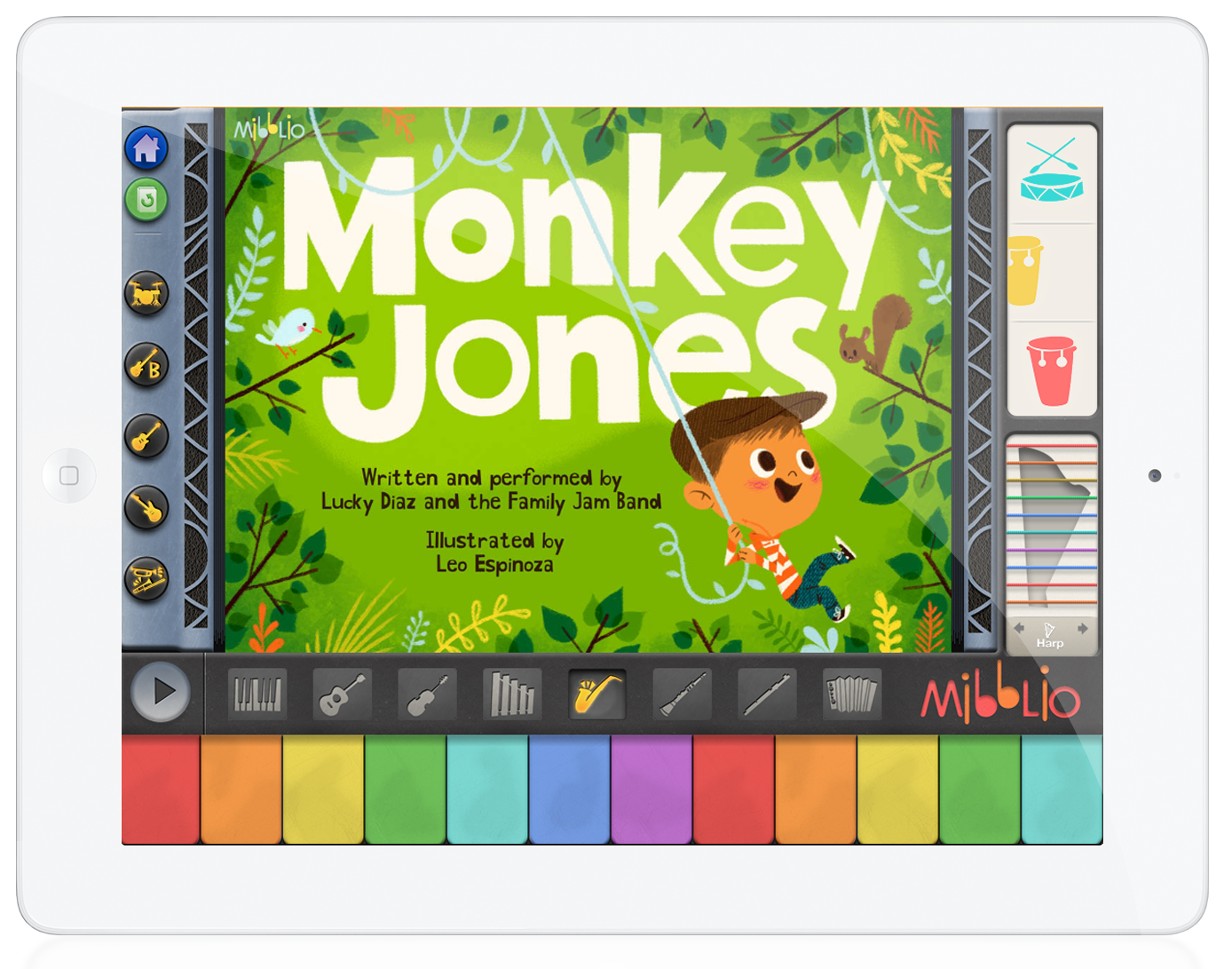 Monkey Jones is king of his backyard jungle. He sits on a bicycle throne, swings from vines, and plays instruments with his animal friends!