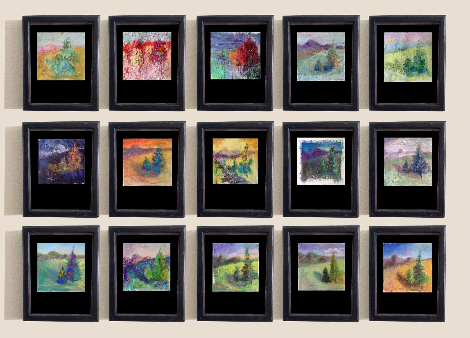 """computer generated framing assortment  Each will be framed 14"""" x 10"""" in shadow box."""
