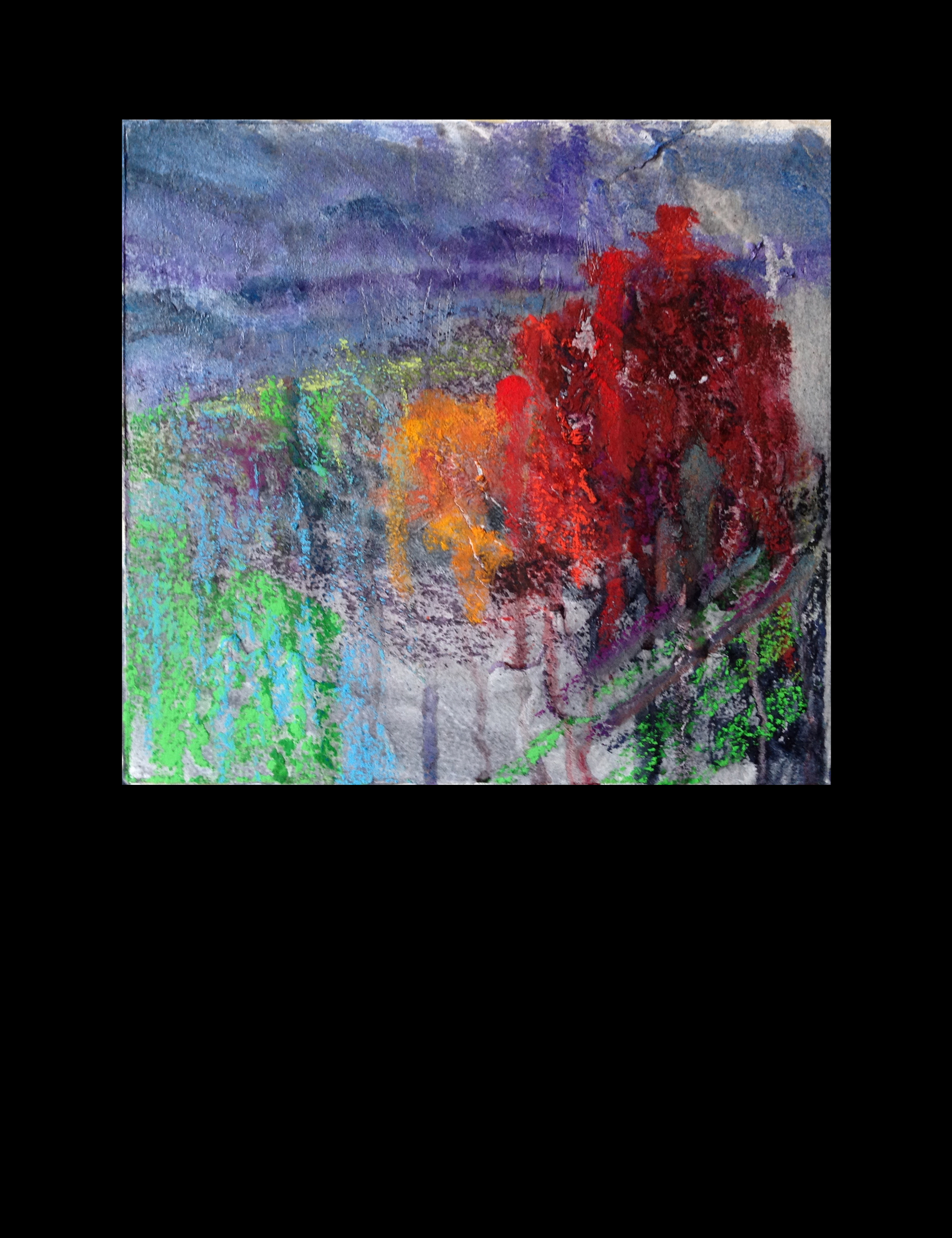 """#13 Over and Over  7.5"""" x 7.5"""" mixed media  © V.N.Ross"""
