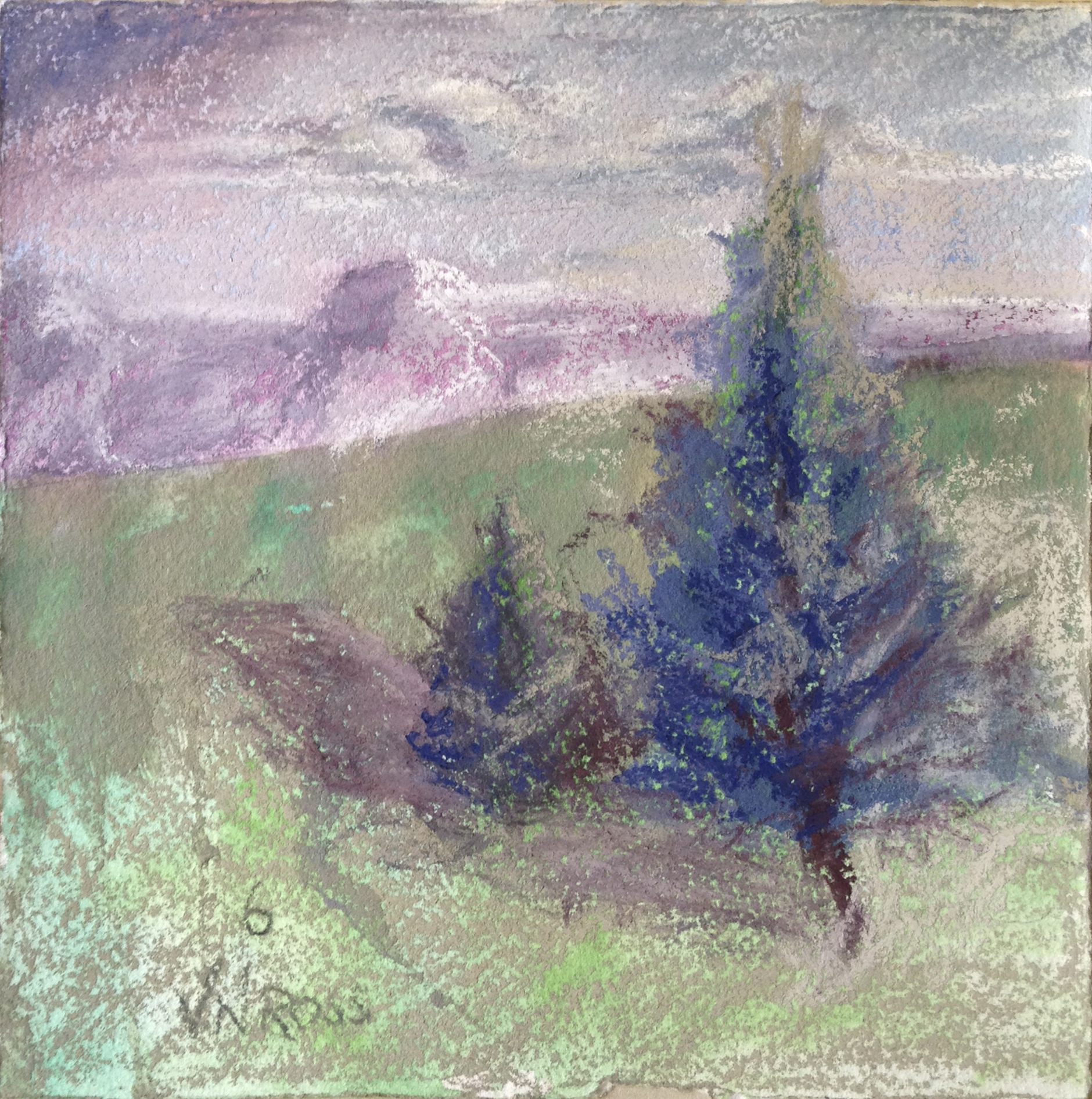 """#6 Over and Over 7.5"""" x 7.5"""" pastel over watercolor © V.N.Ross"""