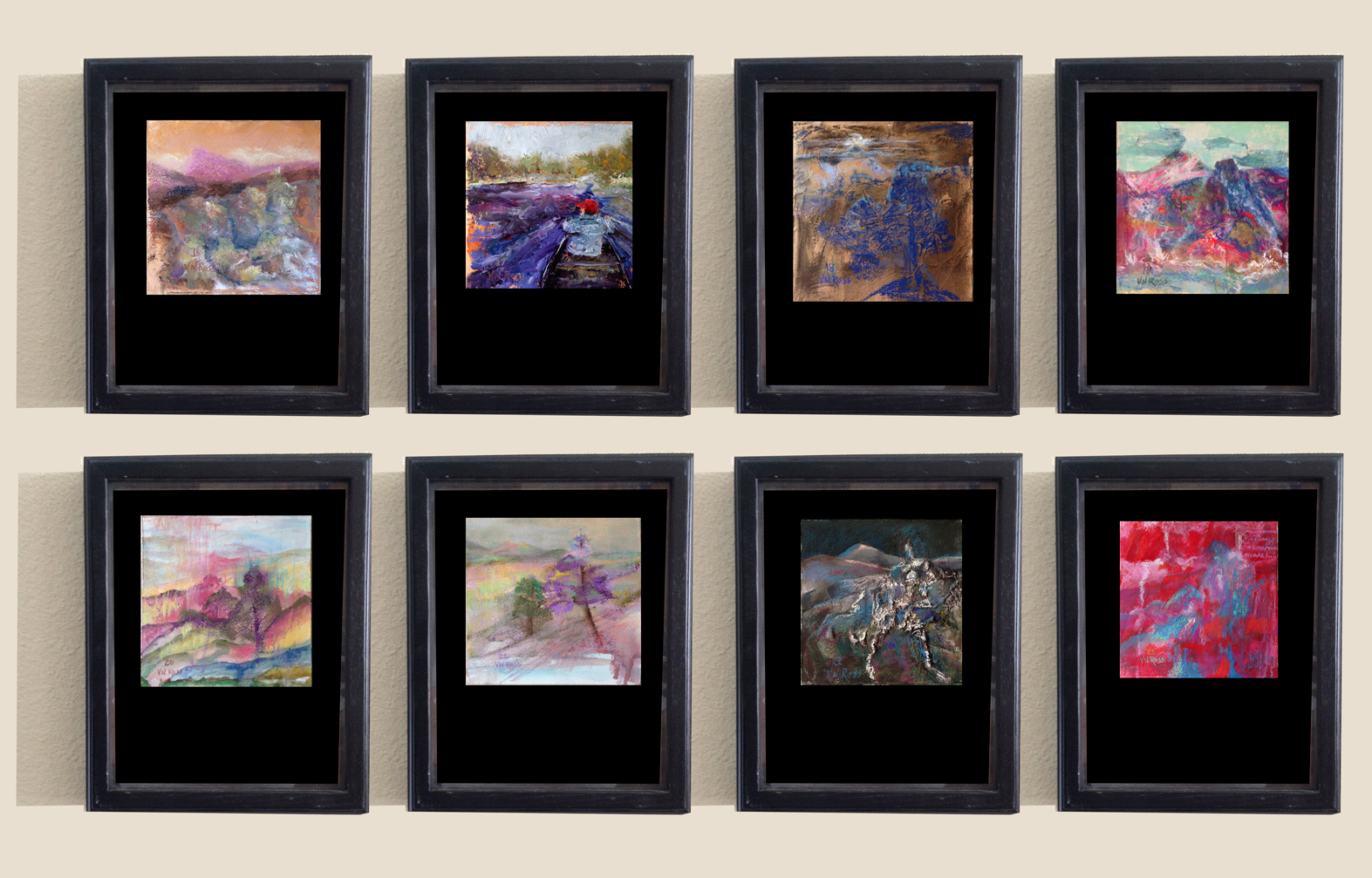 """Computer generated sample of eight framed explorations from the series """"Over and Over Again"""" by Vicki Ross"""