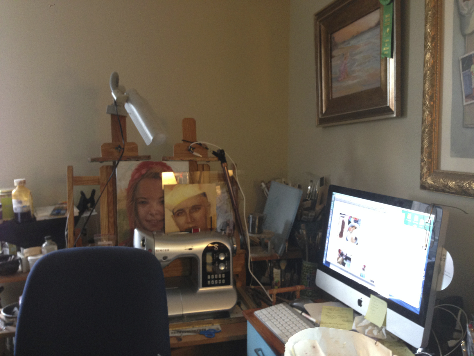 computer/oil/sewing station