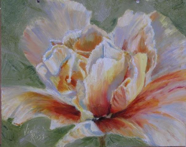 """Capetown Flower, Oil 8x10"""", ©Axully, V.N.Ross"""