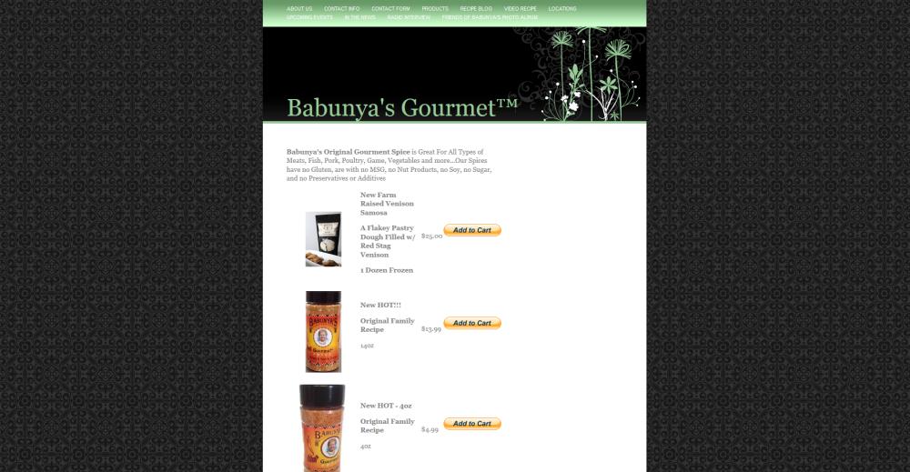 Babunyas Gourmet Website