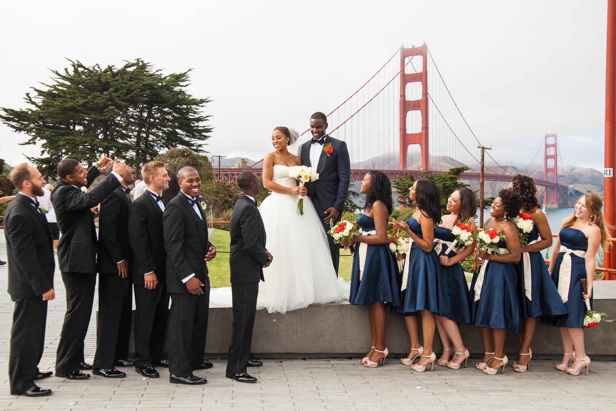golden gate bridge wedding party