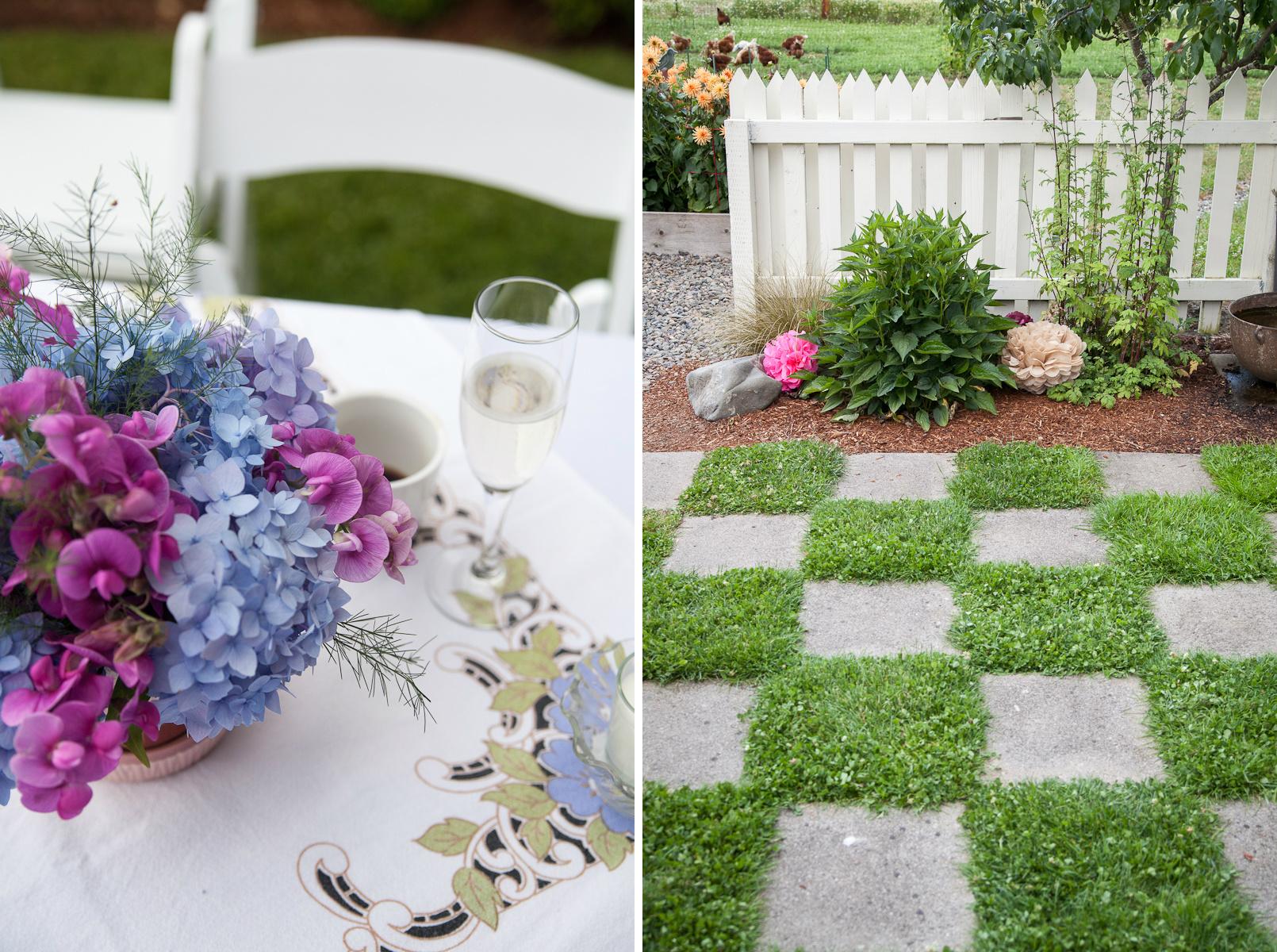 checkerboard grass patio