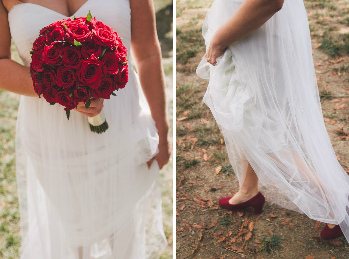 red rose wedding flowers