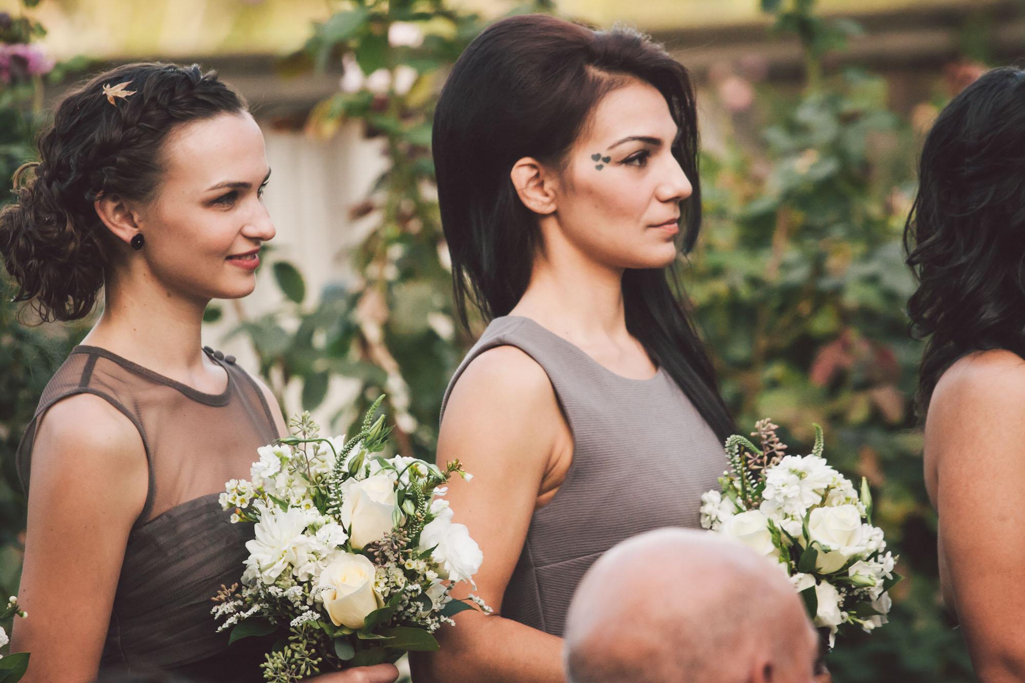 bridesmaids in grey