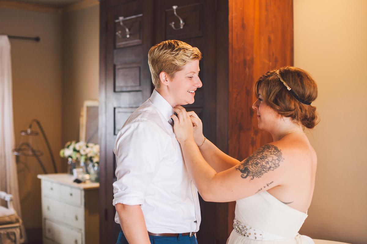 bride tying bride's bowtie