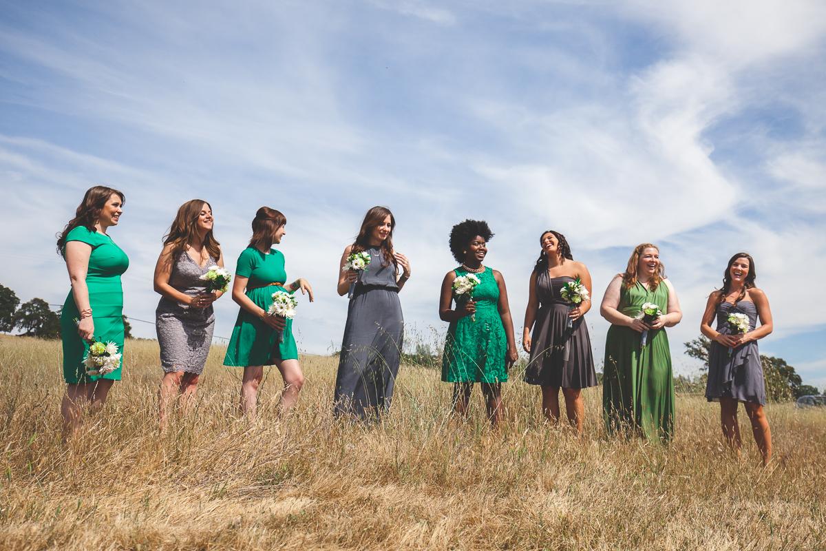 green and grey bridesmaid dresses