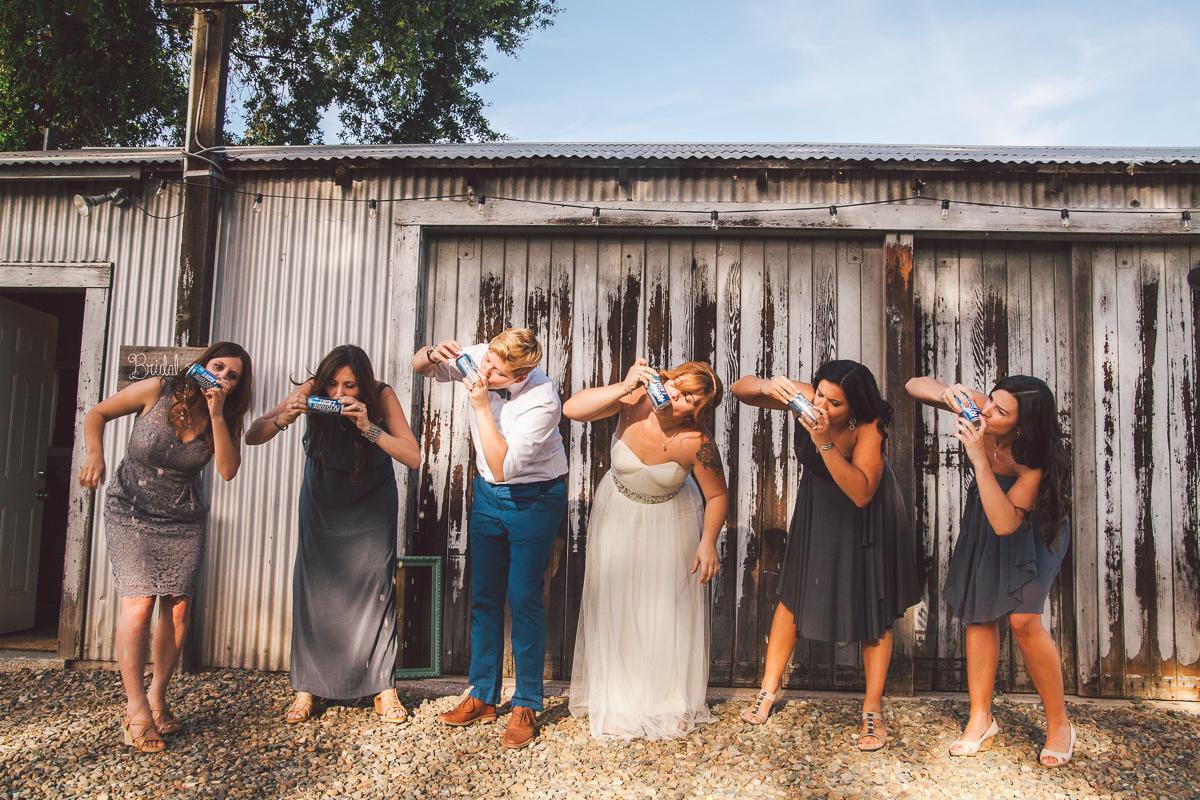 bridesmaids shotgunning beer