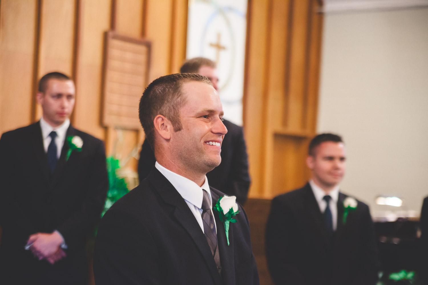 groom reaction to bride walking down the aisle