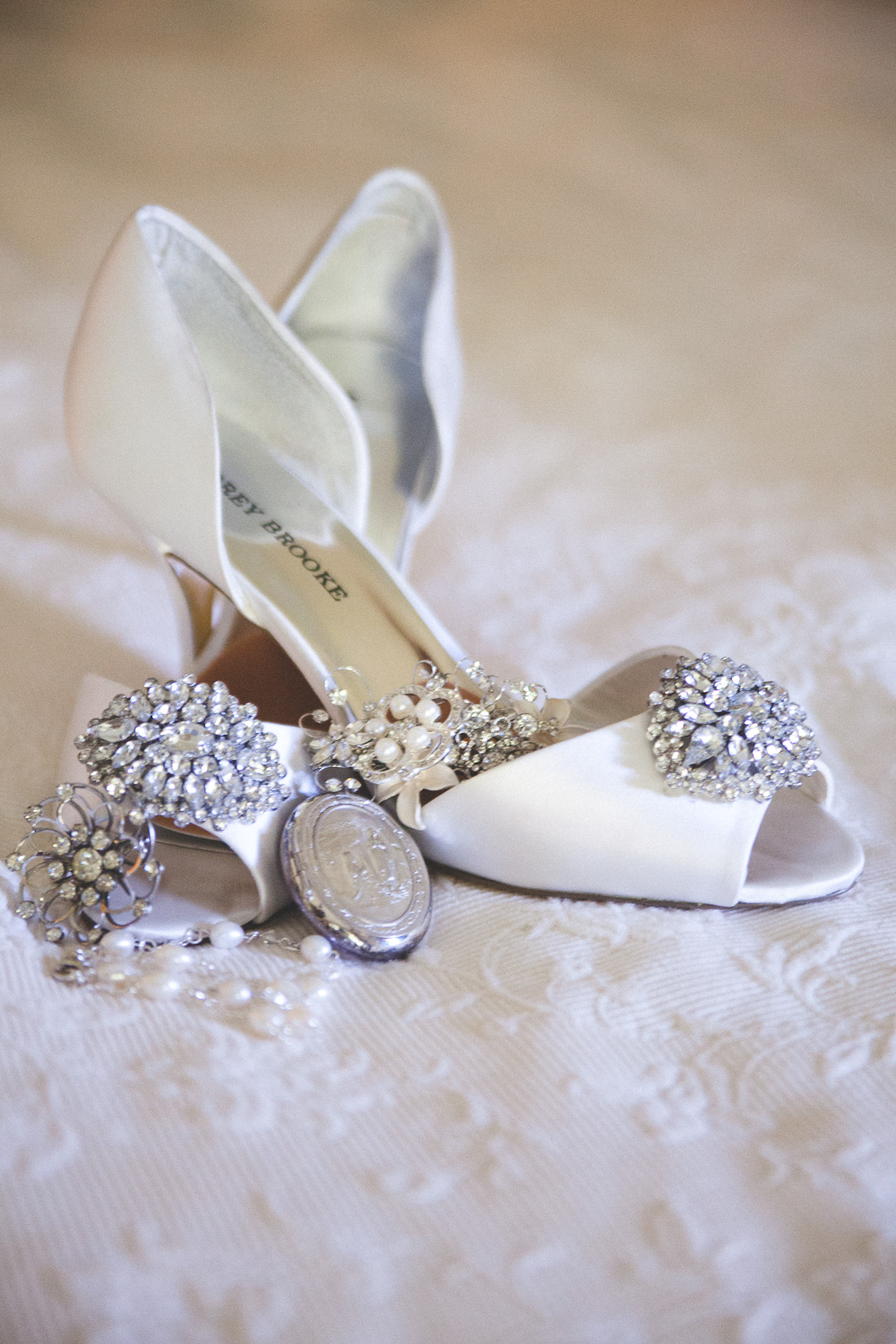 wedding shoe and jewelry tableau
