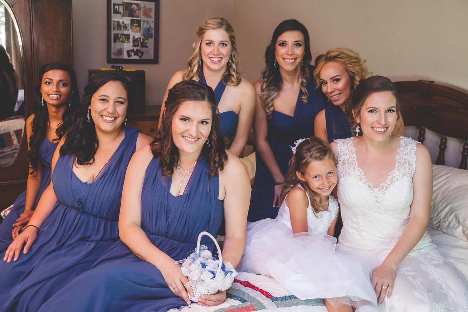 bride and bridesmaids before wedding