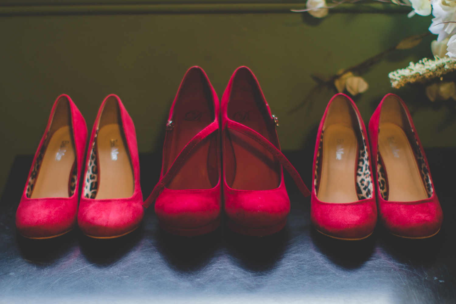 red shoes bridesmaids