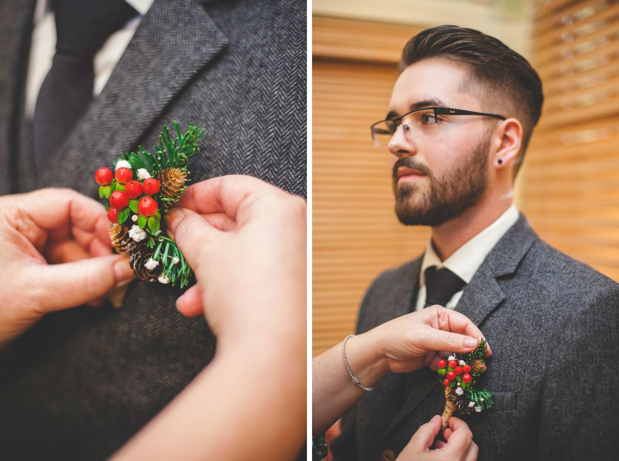 christmas wedding boutonniere