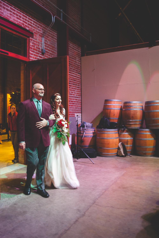 old sugar mill barrel room wedding