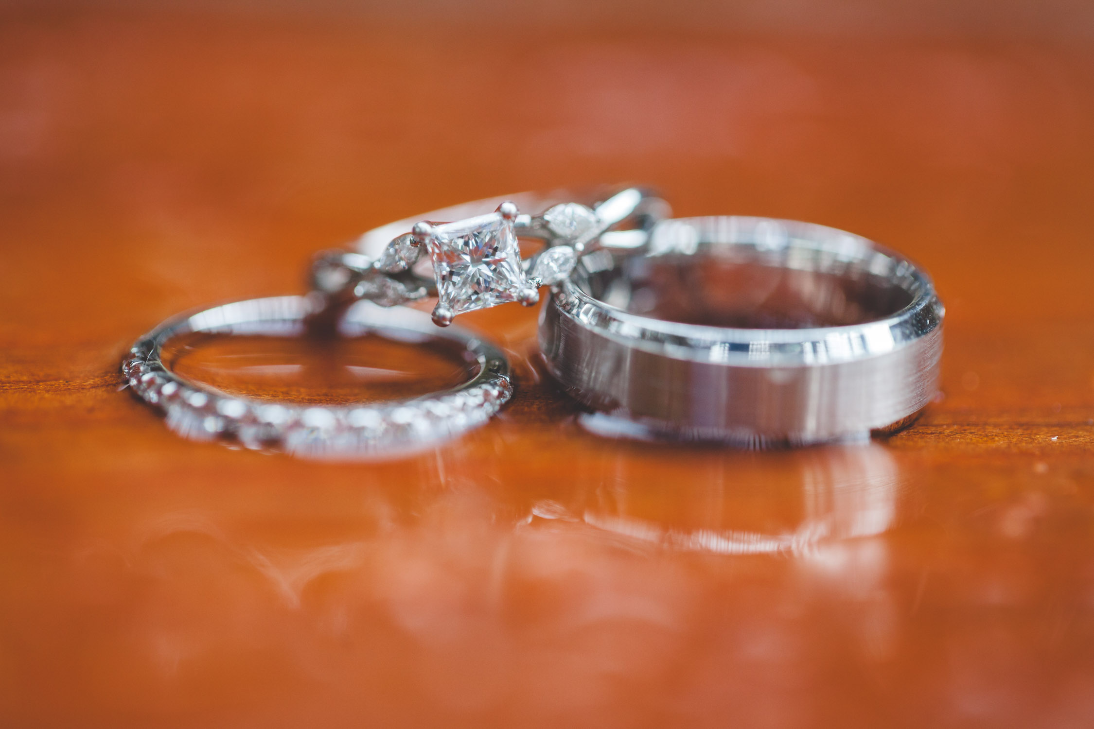 rainy wedding ring shot
