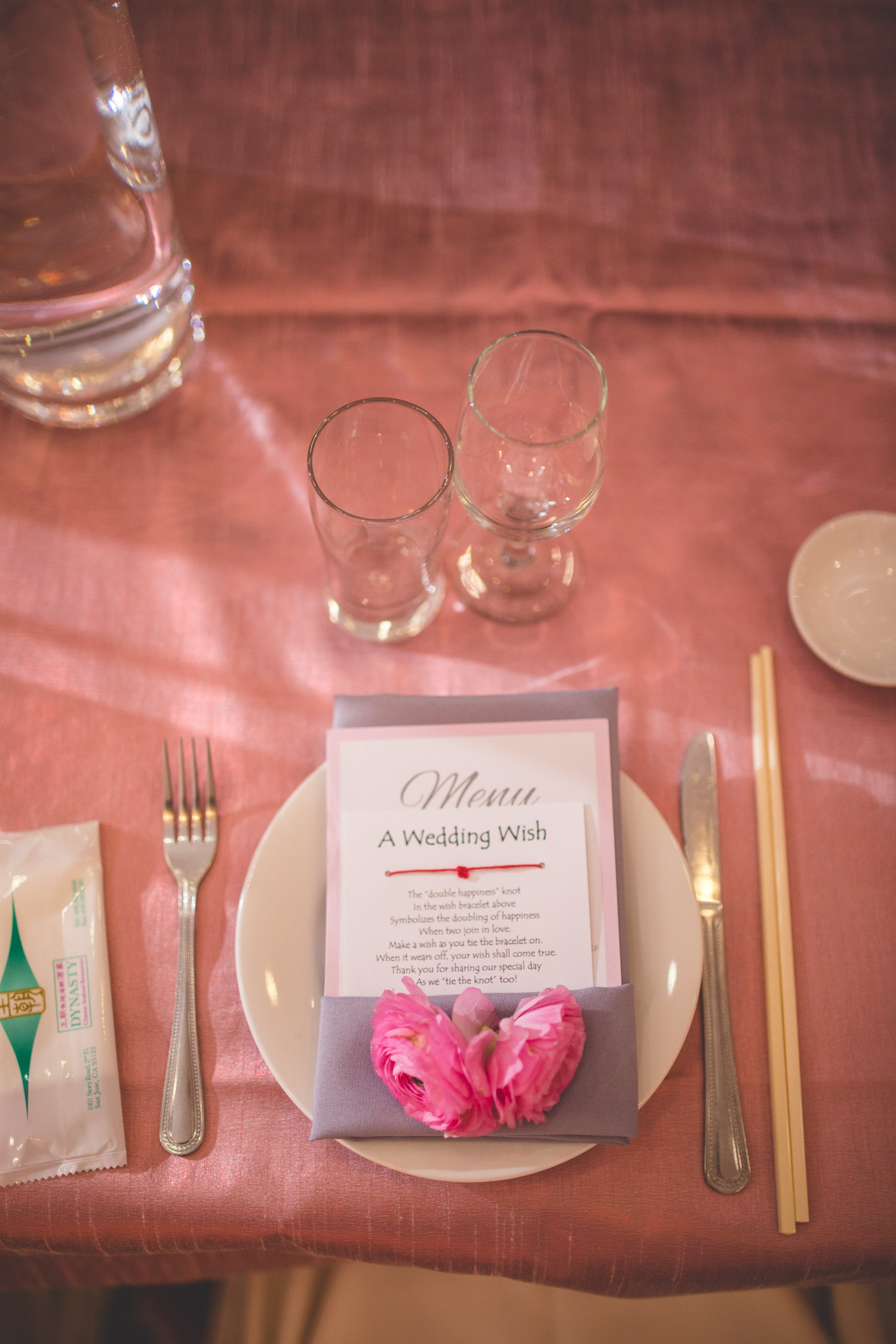 pink and grey wedding details