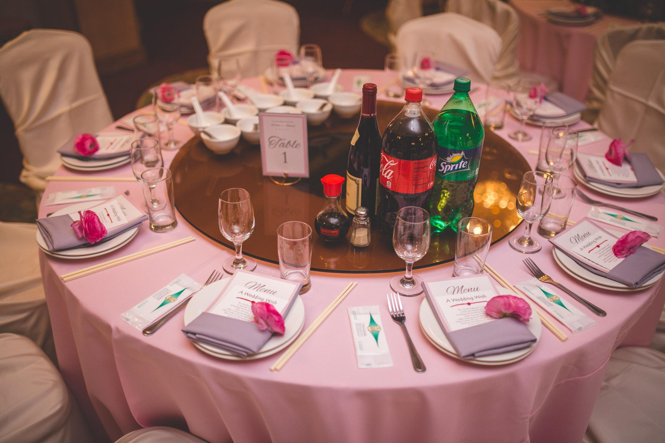 pink table setting wedding