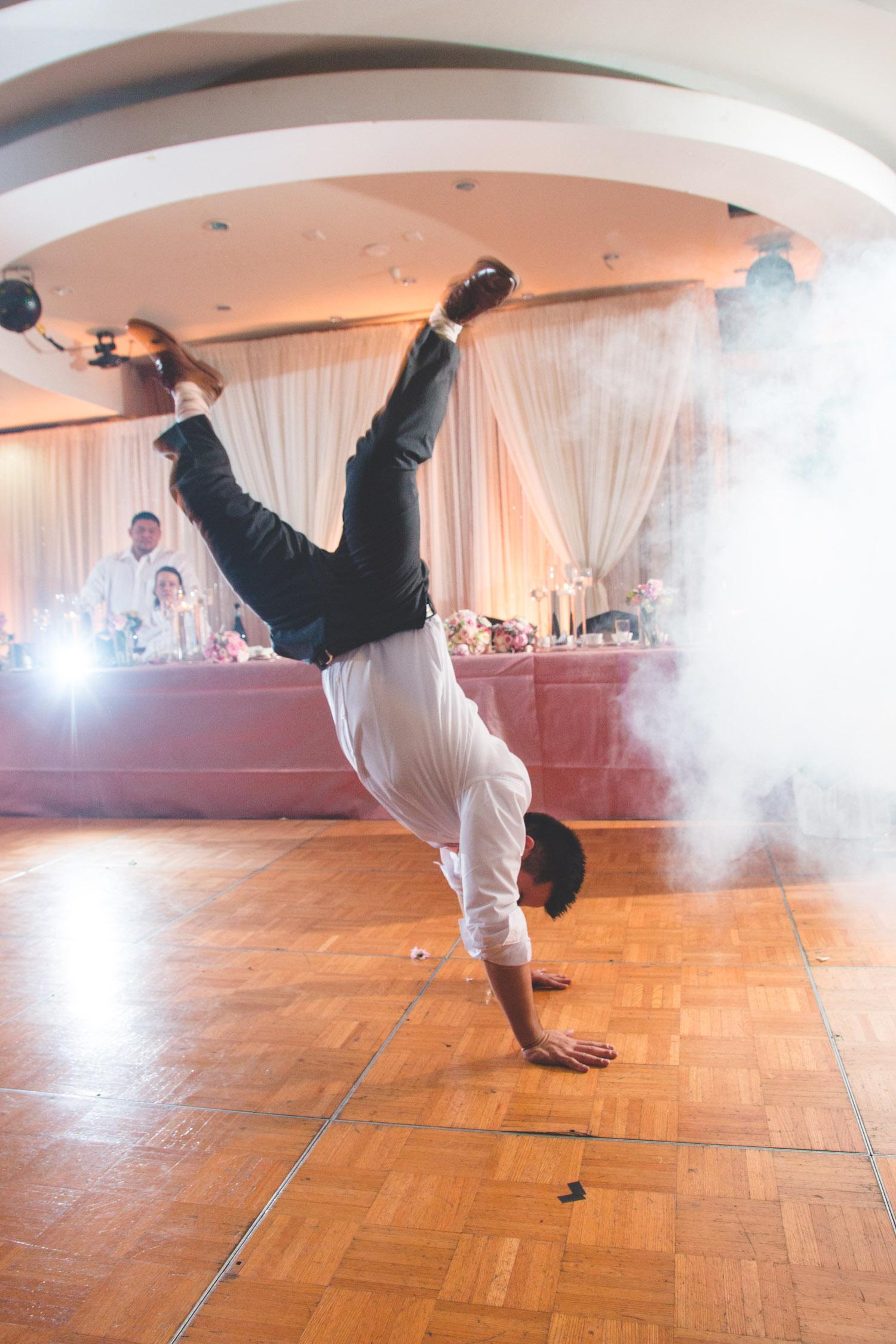 break dancing groom