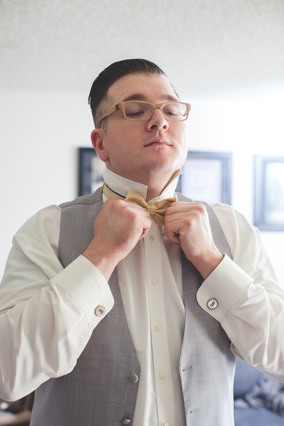 gold bow tie groom
