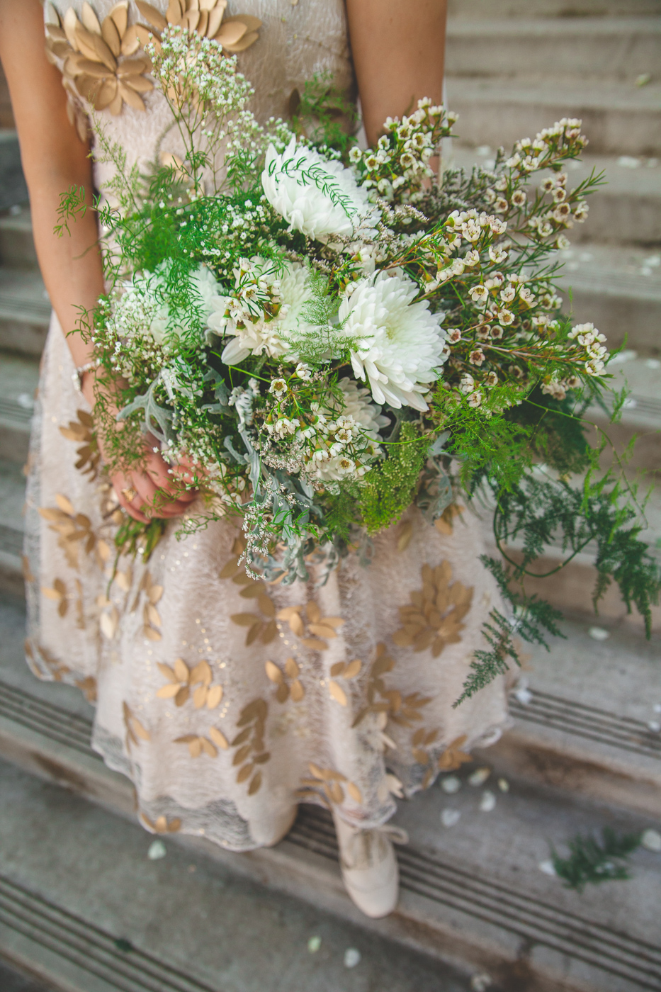 fern silver leaf bouquet