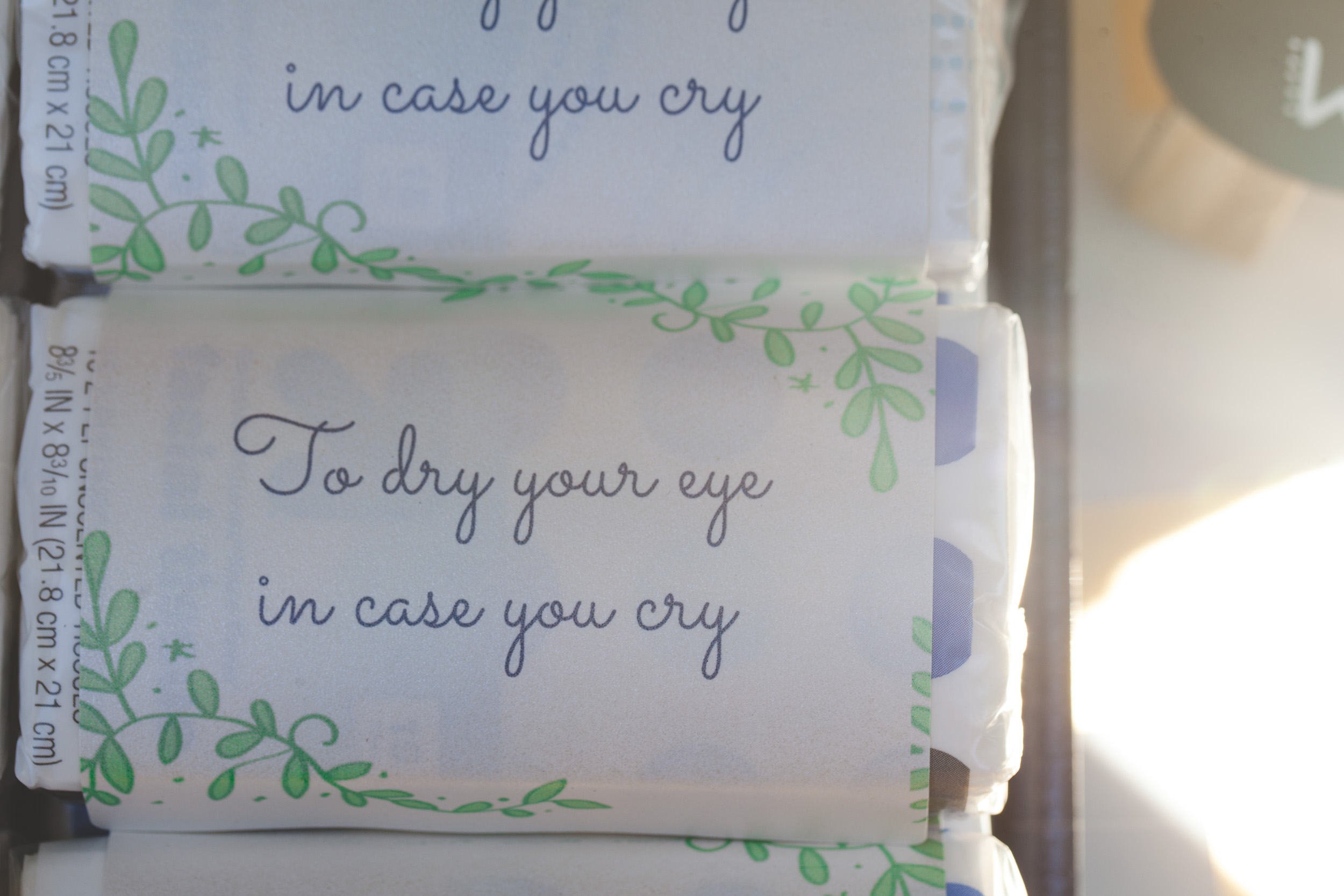 to dry your eye in case you cry