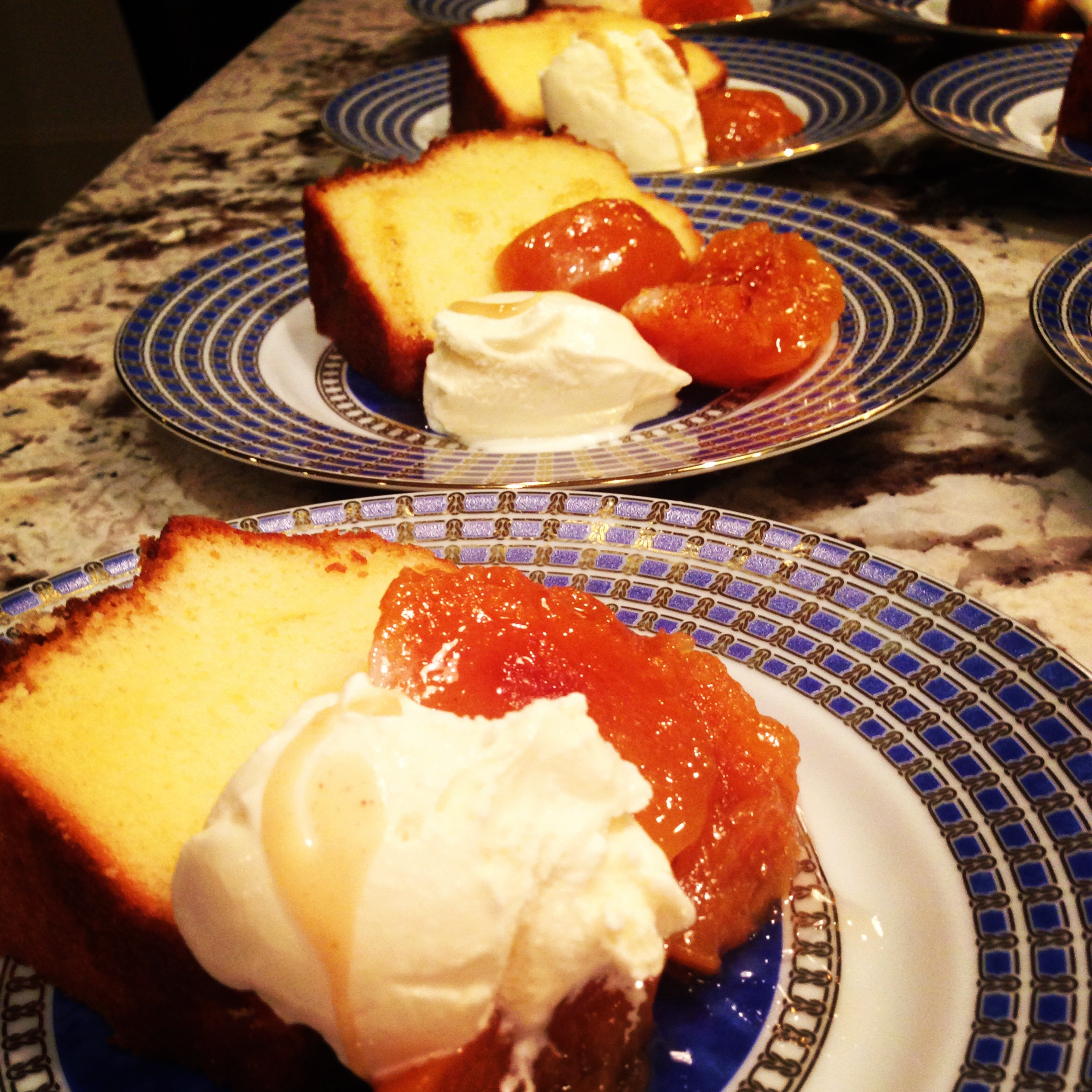 SWEET PICKLED PEACHES with vanilla pound cake and brown butter ice cream