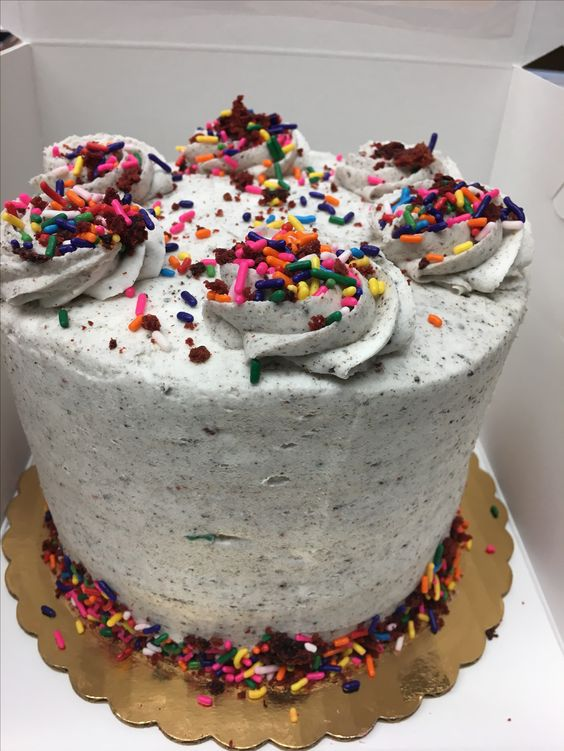 HB2ME - 3 layers of funfetti oreo cake filled and frosted with cookies and cream buttercream.   6 inch $35 8 inch $45