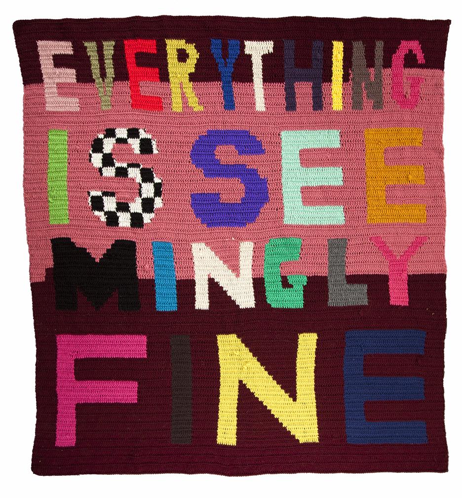"""2013, 80"""" x 89"""", crocheted yarn"""