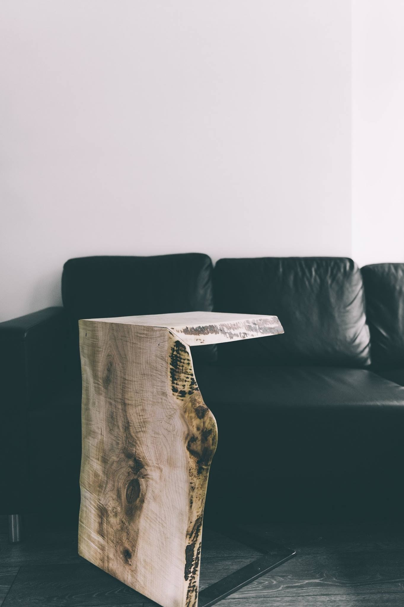 Live edge black walnut side table