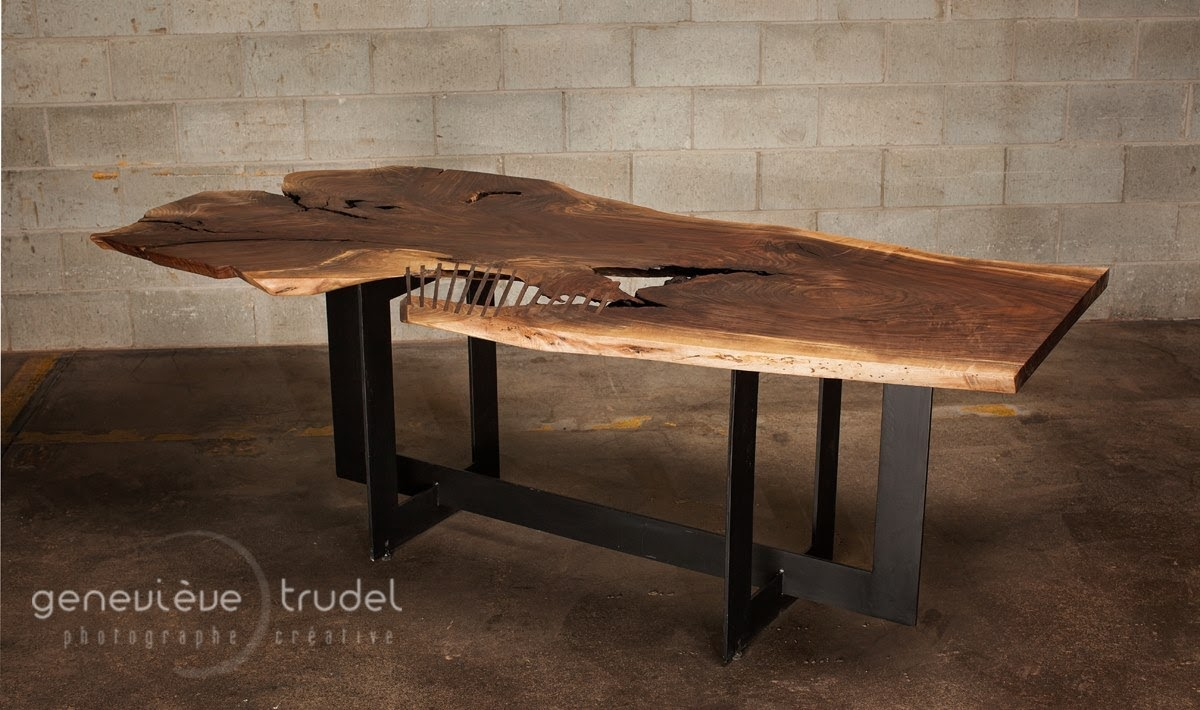 Live edge black walnut table dining table rip cage